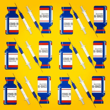 Vector illustrations of the Covid Vaccine Bottle together with a syringe on a yellow background