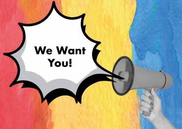 Megaphone with speechbubble 'we want you!' behind a colourful background