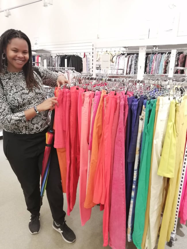 Lusanda at second hand store