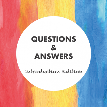Graphic with a watercolour background in red, yellow and blue together with the slogan 'Questions and Answers - Introduction Edition' on it