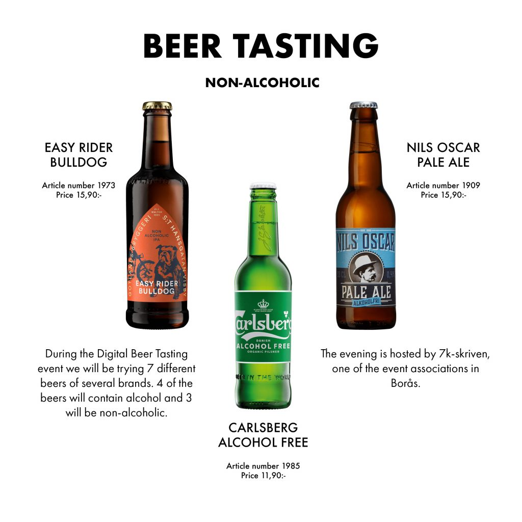 The beers that will be tasted